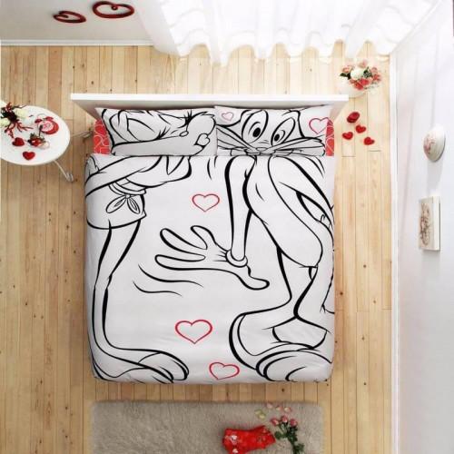 Дизайнерское постельное белье TAC Freemood Bunny & Lola Amour евро