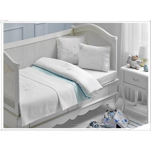 Детское белье в кроватку Tivolyo Stork (голубое)