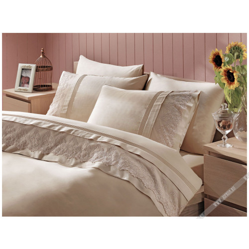 Свадебное постельное белье Gelin Home Ezgi (бежевое) евро