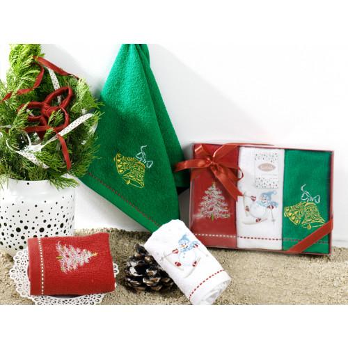 Салфетки махровые с вышивкой Karna Noel V3 (30x50, 3 предмета)