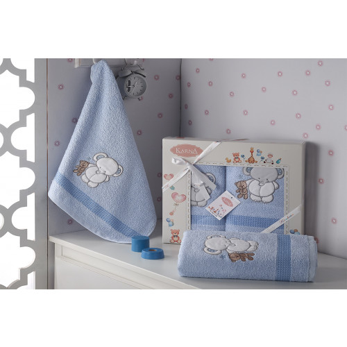 Набор полотенец Karna Bambino Slon (2 предмета, голубой)