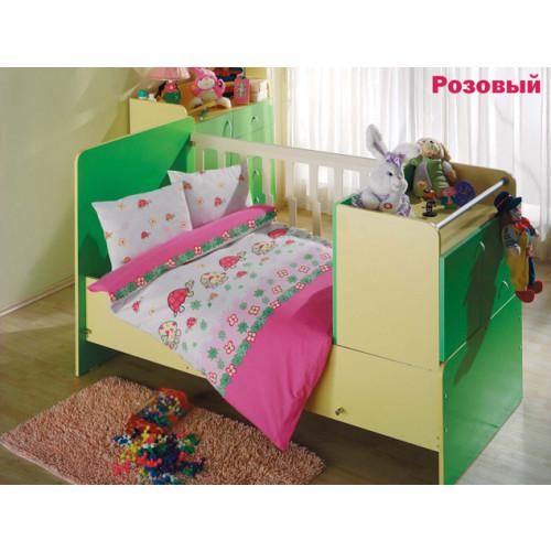 Детское белье в кроватку Altinbasak Neseli Черепашки (розовое)