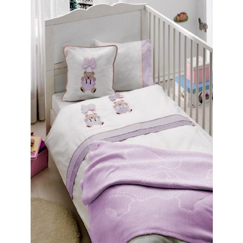 Детское белье в кроватку + покрывало Gelin ORGU лиловый