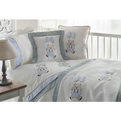 Детское белье в кроватку с медвежатами Gelin BEBE голубое