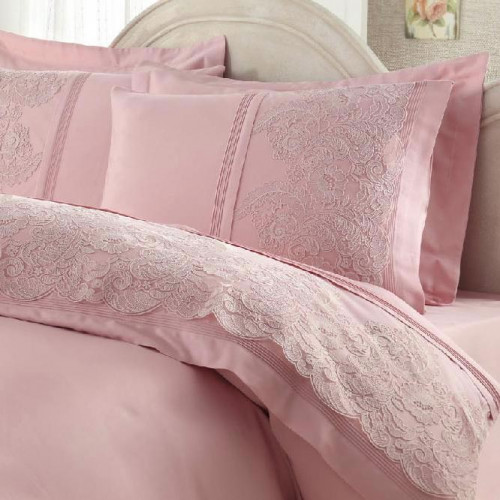 Свадебное постельное белье Gelin Home Elmas (розовое) евро