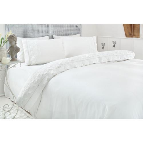 Свадебное постельное белье Gelin Home Esma (белое) евро