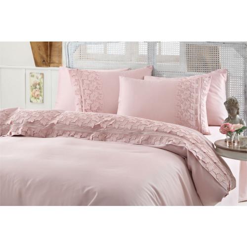 Свадебное постельное белье Gelin Home Esma (розовое) евро