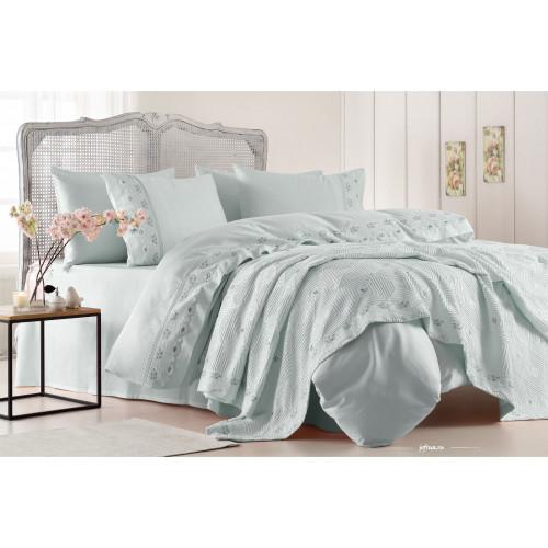 Набор постельного белья с покрывалом Gelin Home Gulcicek (бирюзовый) евро