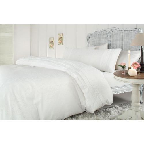 Свадебное постельное белье Gelin Home Selina Jakarli (белое) евро