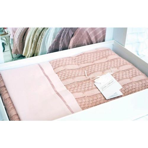 Набор Gelin Home Dilara с пледом (розовый) евро