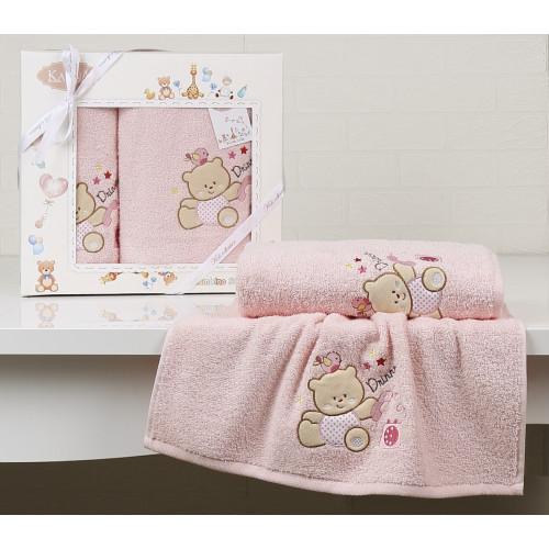Набор полотенец Karna Bambino Bear (2 предмета, розовый)