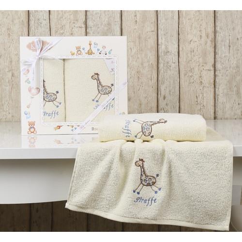 Набор полотенец Karna Bambino Giraffe (2 предмета, кремовый)