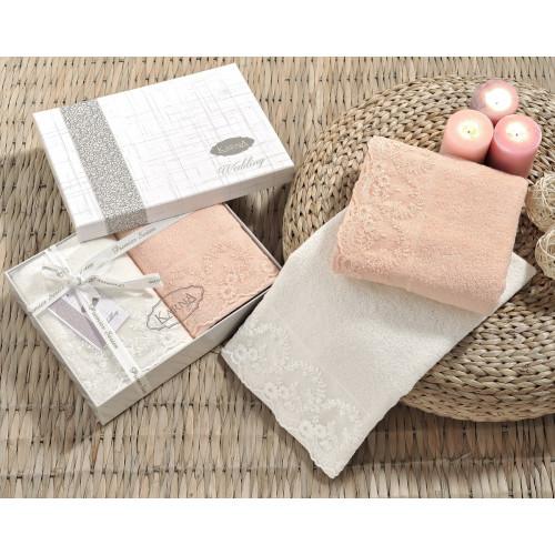 Набор полотенец Karna Elinda 50x90 (кремовый-абрикосовый, 2 предмета)