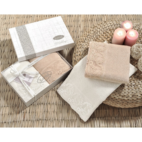 Набор полотенец Karna Elinda 50x90 (кремовый-кофейный, 2 предмета)