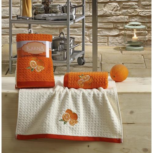 Набор салфеток Karna Lemon V1 (2 предмета, оранжевый) 40x60