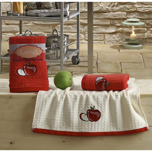 Набор салфеток Karna Lemon V1 (2 предмета, красный) 40x60