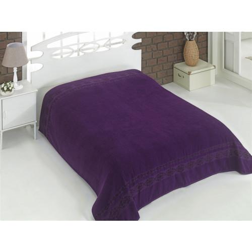 Махровая простынь Karna Rebeka (фиолетовая)