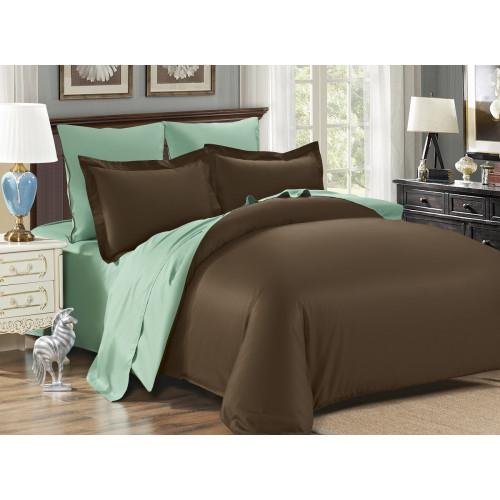 Постельное белье Karna Sanford (коричневый-зеленый)