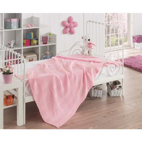 Детский вязаный плед Karna Silvia (розовый) 100x150