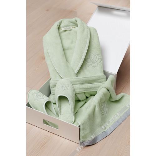 Подарочный набор Soft Cotton Lilium зеленый (халат + тапочки + полотенце)