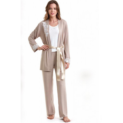 Пижама c халатом Luisa Moretti LMS-2011 (кремовая-бежевая)