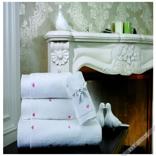 Полотенце Soft Cotton Love (белое с розовым)