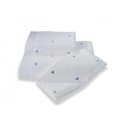 Полотенце Soft Cotton Love (белое с голубым)
