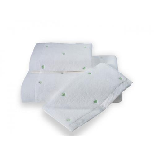 Полотенце Soft Cotton Love (белое с зеленым)