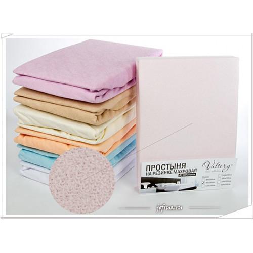 Махровая простыня Valtery PM на резинке (розовая)