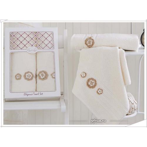 Набор полотенец Karna Elegance (кремовый, 2 предмета)