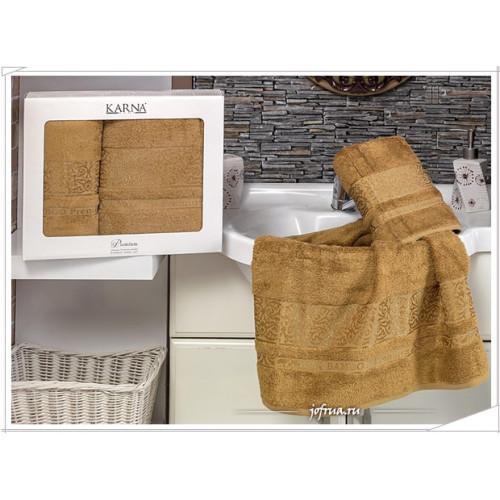 Набор полотенец Karna Premium Bamboo (горчичный, 2 предмета)