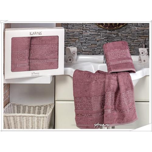Набор полотенец Karna Premium Bamboo (грязно-розовый, 2 предмета