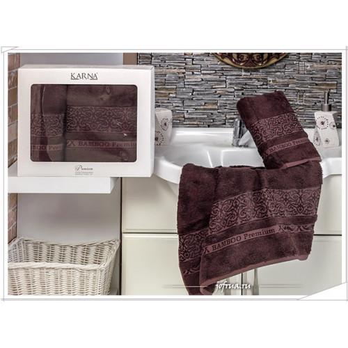 Набор полотенец Karna Premium Bamboo (коричневый, 2 предмета)