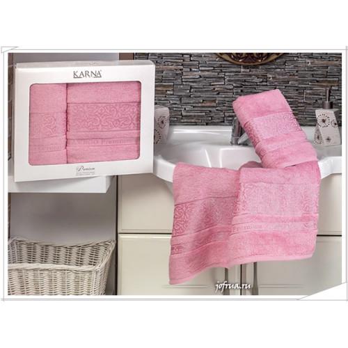 Набор полотенец Karna Premium Bamboo (розовый, 2 предмета)