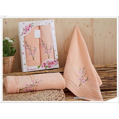 Набор полотенец Karna Sakura (абрикосовый, 2 предмета)