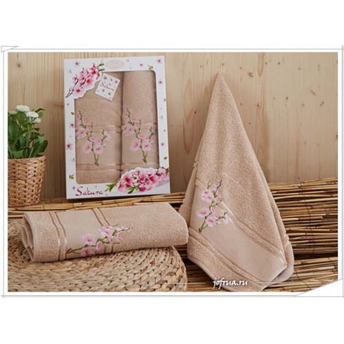 Набор полотенец Karna Sakura (кофейный, 2 предмета)