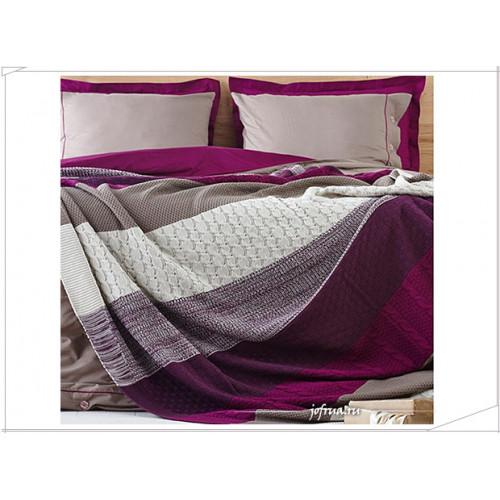 Набор с вязаным пледом Karaca Home Fine (фиолетовый)