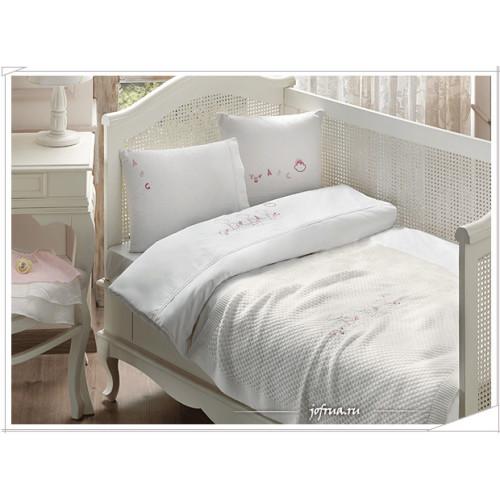 Набор в кроватку с покрывалом Tivolyo ABC (розовый)