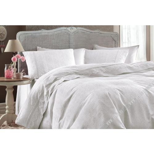 Свадебное постельное белье Gelin Home Nazli Jakarli (белое) евро