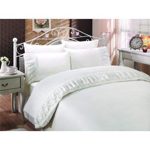 Свадебное постельное белье Gelin Home Neslisah (белое) евро