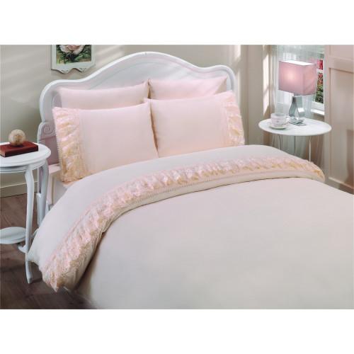 Свадебное постельное белье Neslisah (персиковое) евро