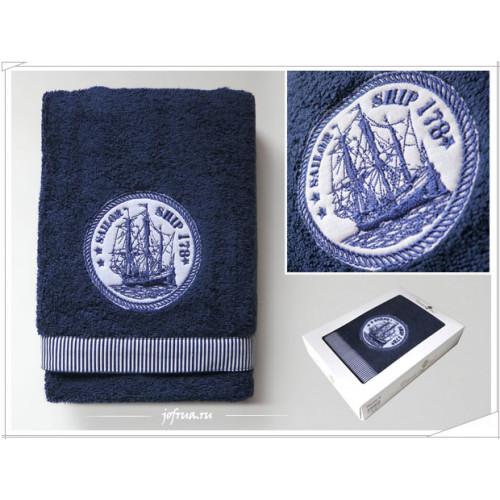 Полотенце Sailor Ship Морской Корабль (синее) 50х90