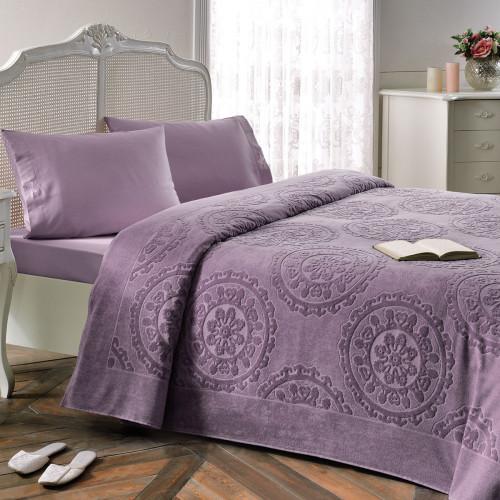 Набор с покрывалом Tivolyo Alfredo (фиолетовый) 2-спальный