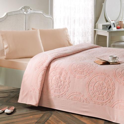 Набор с покрывалом Tivolyo Alfredo (персиковый) 2-спальный