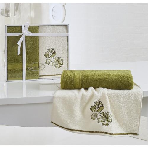 Набор полотенец Karna Rodos (темно-зеленый, 2 предмета)
