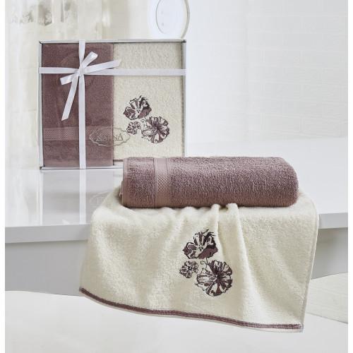 Набор полотенец Karna Rodos (грязно-розовый, 2 предмета)
