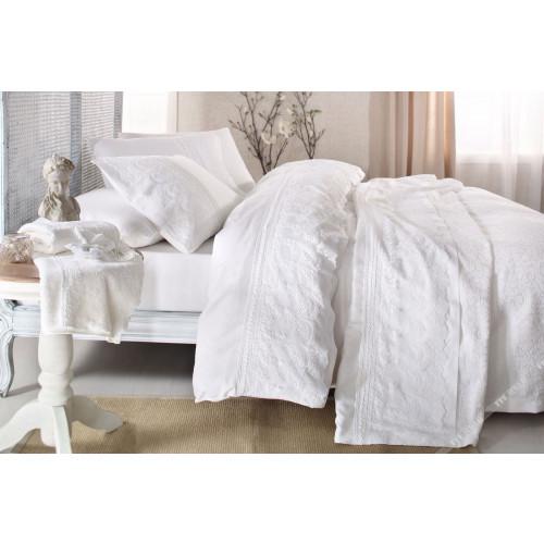 Свадебное постельное белье Sal (белое) евро
