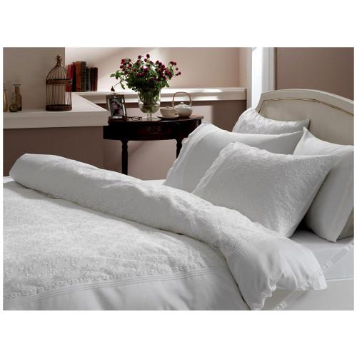 Свадебное постельное белье Gelin Home Sedef (белое) евро