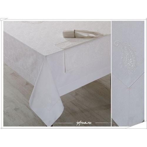 Скатерть + 8 салфеток Soft Cotton Ayda (белая) 160х260