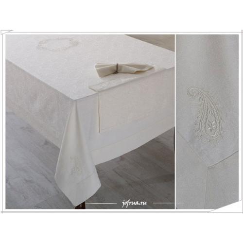 Скатерть + 8 салфеток Soft Cotton Ayda (кремовая) 160х260